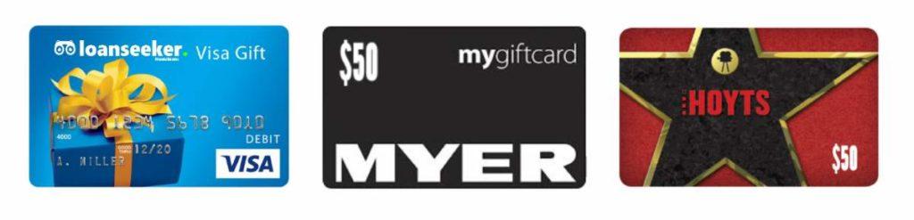 Loanseeker refer a friend gift cards
